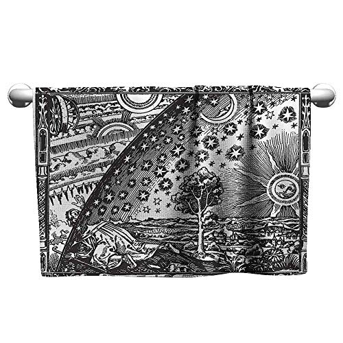 duommhome Vintage Decor Beach and Pool House Towel Medieval Sacred Picture with Moon Sun End of The World Themed Illustration W10 x L10 Charcoal Grey