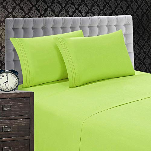 - Elegant Comfort 1500 Thread Count Luxury Egyptian Quality Wrinkle and Fade Resistant 4-Piece Sheet Set, Queen, Lime-Green