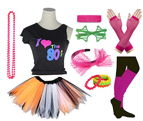 Girls I Love The 80's Disco T-Shirt for 1980s Theme Party Outfit (Orange&White&Black, 7-8 Years)