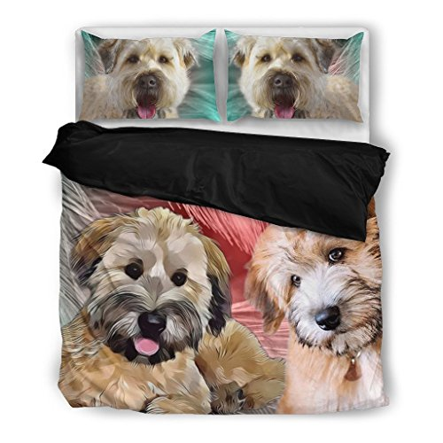 Soft- Coated Wheaten Terrier Bedding Set - Dog Lovers Gifts - Custom Cover Print Design Pillow Cases & Duvet Blanket Cover - Pet Gift Ideas