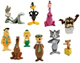 Hanna Barbera / Loony Tunes Classic Cartoon Charater Mini Figure Vending Toy Set of 10 (Fred Flinstone, Tom & Jerry, Daffy Duck, Yogi Bear, Scooby Doo and more...