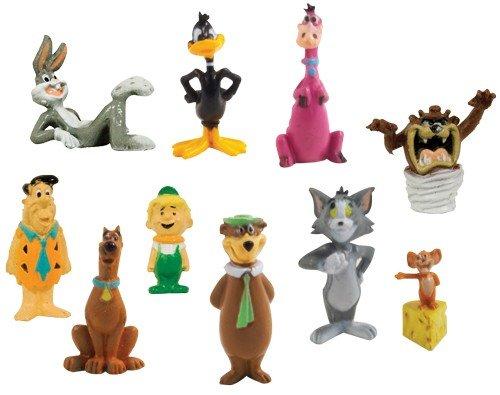Hanna Barbera / Loony Tunes Classic Cartoon Charater Mini Figure Vending Toy Set of 10 (Fred Flinstone, Tom & Jerry, Daffy Duck, Yogi Bear, Scooby Doo and - Hanna Barbera Bears