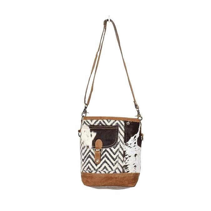 Amazon.com: Myra Bag Moire - Bolso de hombro de lona y vaca ...
