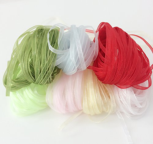 PEPPERLONELY 7 Color Set (10 Yard Each) Single Face Organza Ribbon, 3mm (1/8 Inch)
