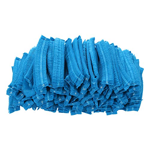 certainPL 100 Pieces Disposable Dust Cap Non Woven Paper Hair Shower Bouffant Cap Pleated Anti Dust Hat Set for Salons, Hotels, Spas, Medical, Catering, Food Prep | One Size Fits Most (Blue)
