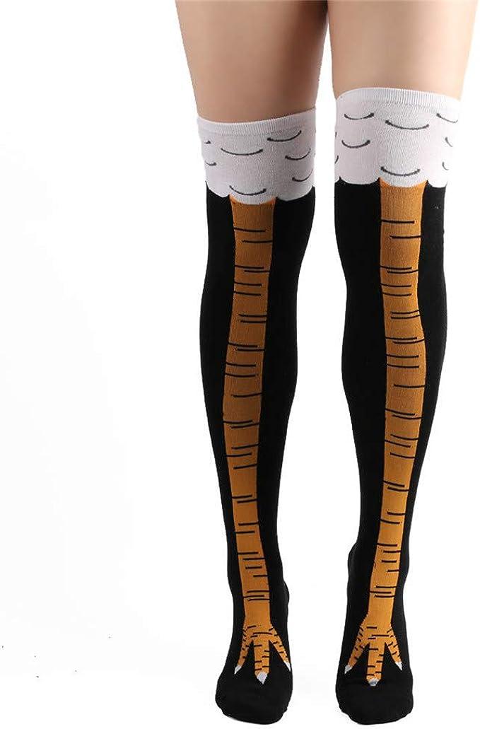 2 Pcs 3D Crazy Funny Chicken Leg Knee High Socks Novelty Warm Girl Stocking US