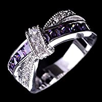 Amethyst & white zircon 925 silver fashion Wedding Jewelry New rings size 6-12 (7)