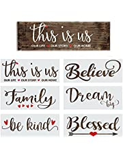 Stencils For Painting on Wood - Inspirational Templates and Stencils for Wood Signs, Canvas & DIY Home Decor - Farmhouse Stencil Set Includes Large Painting Stencils - This Is Us, Blessed and Family