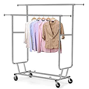 Yaheetech Adjustable Double Clothes Rails Garment Rack with Wheels Clothing Rack