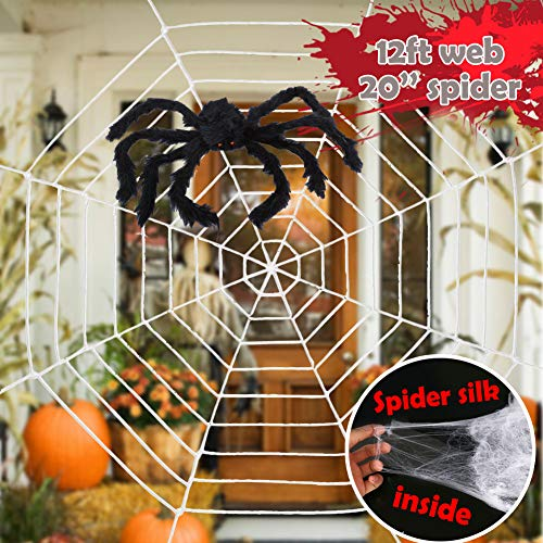 Easy Scary Halloween Decorations (ESSENSON Halloween Decorations - 12 FT Giant Round Spider Web and Fake Large Hairy Spider Props Scary Halloween Yard Door & Outdoor Decor with Super Stretch Cobweb Halloween Decorations Party)
