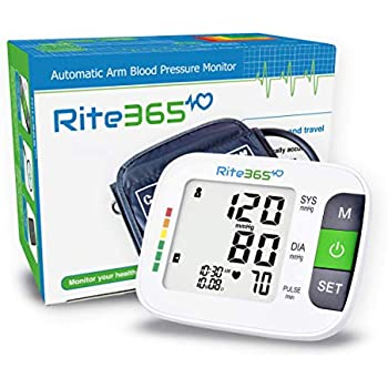 Arm Blood Pressure Monitor by Rite365 - Automatic -FDA approved - for Home and Travel - Upper Arm Cuff fits Standard and Large Arms, Deluxe Carry Case, ...