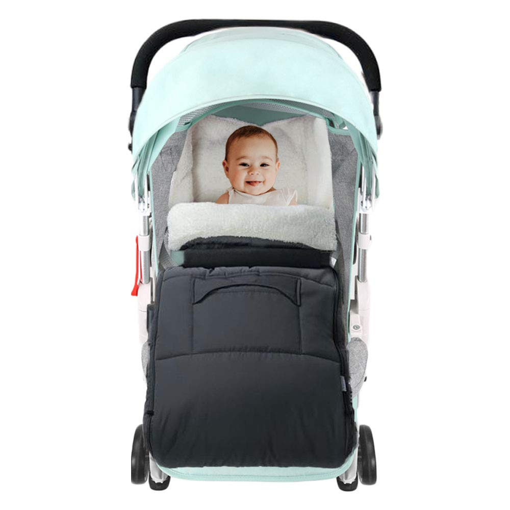 f/ür Baby unter 36 Monaten Kuschel-Fu/ßsack mit Fleece gef/üttert BeebeeRun Baby Fu/ßsack Kinderwagen Kuschelige Zehen mit Kapuze f/ür Kinderwagen grau