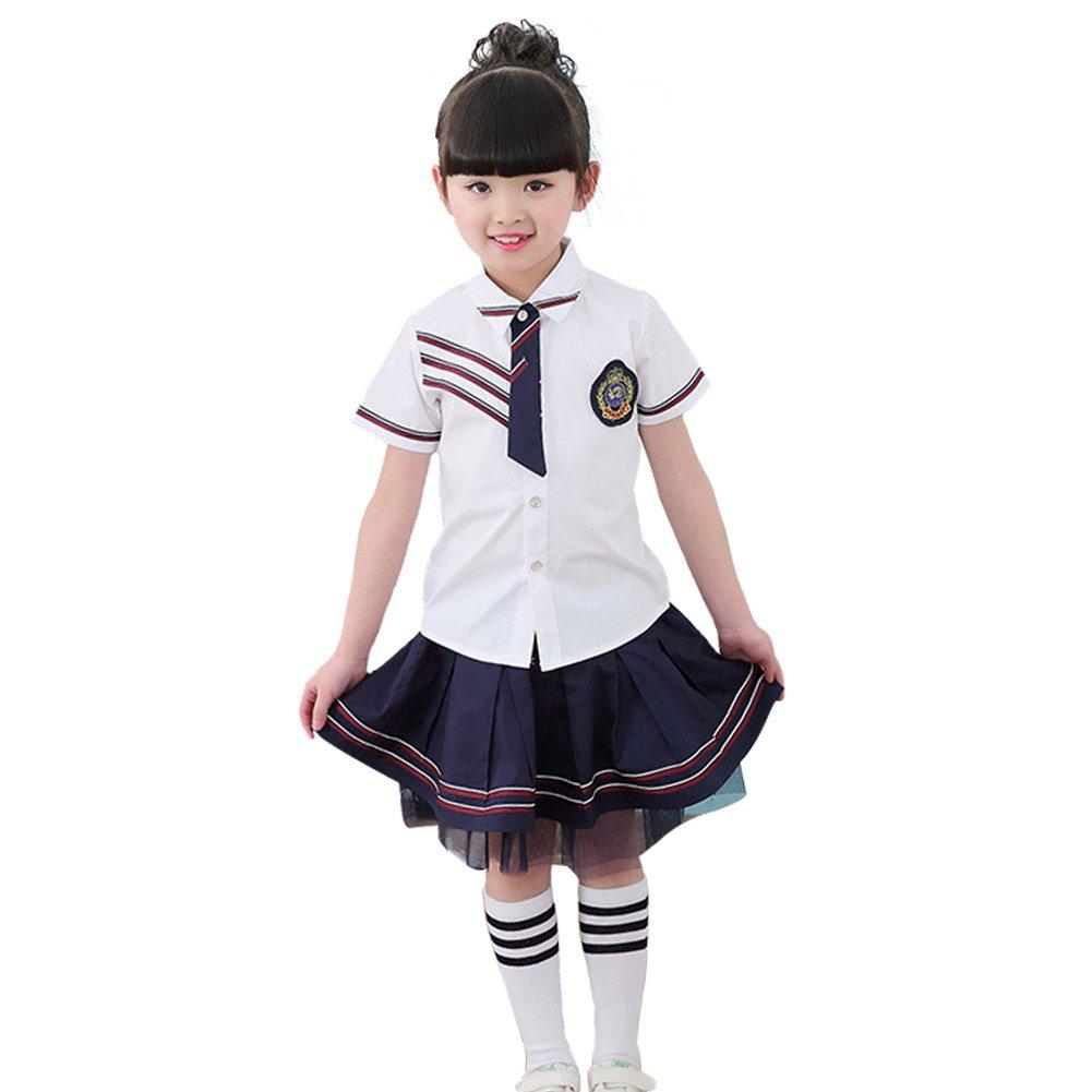 DREAMOWL Girl Boy School Uniforms Summer Short Sleeves Cosplay Costume Primary Uniform Suit (6, Girl)
