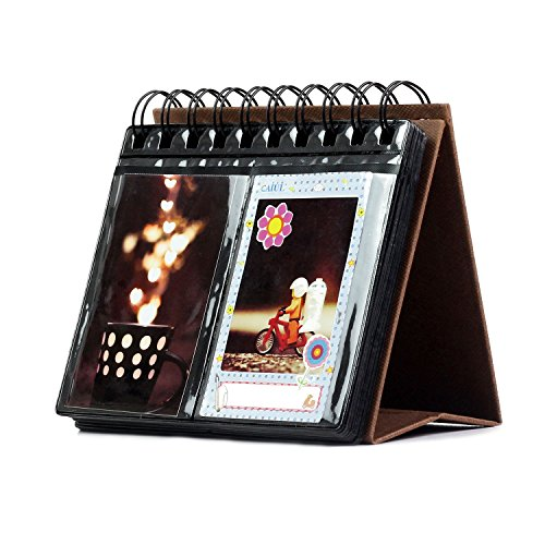 "Owmoon Calendar Mini Photo Album Series Mini Portable 3-inch Desk Calendar Picture Holder Which Have 68 Pockets for up to 2x3""Photos, Instax Picture,Name-card,Memo Ticket Holder,color:Brown -"