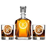 Monogram Scotch Glass & Whiskey Decanter Set, Absolutely Perfect Gift for Groomsmen, Fathers Day, Anniversary, Housewarming or any special occasion