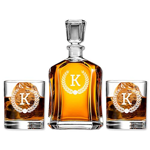 Monogram Scotch Glass & Whiskey Decanter Set, Absolutely Perfect Gift for Groomsmen, Fathers Day, Anniversary
