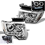 ZMAUTOPARTS Ford F150 Halo DRL LED Projector Headlights Chrome Pickup Truck