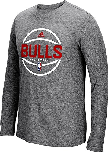 Chicago Bulls Slimmer Fit Adidas On-Court Dark Grey Pre-Game Ultimate Synthetic Long Sleeve T Shirt (L=40/42)