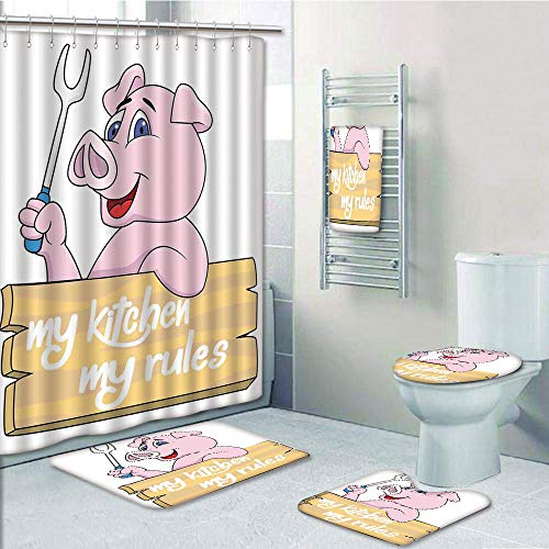 Bathroom 5 Piece Set shower curtain 3d print,Kitchen Decor,Pig Chef Holding BBQ Barbeque Fork Tongs Fast Food Mascot Character Grill Wood Menu,Pink White,Bath Mat,Bathroom Carpet Rug,Non-Slip,Bath Tow by iPrint (Image #7)