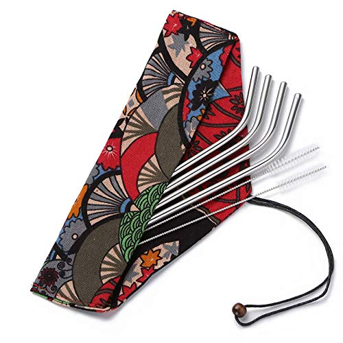 Reusable Straws With Case-Each Food Grade Stainless Steel Metal Drinking Straw Is Eco Friendly,Portable,Reuseable,Suits For Travel,Regular Cup,Glass/Glasses & 20 Oz Tumbler. Has Pouch & Cleaning Brush by Valo Marine