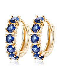 YAZILIND 18K Gold Plated Jewelry Exquisite Round Earring Hoop Huggie Earrings for Women Cubic Zirconia Crystal Element Wedding Jewelry