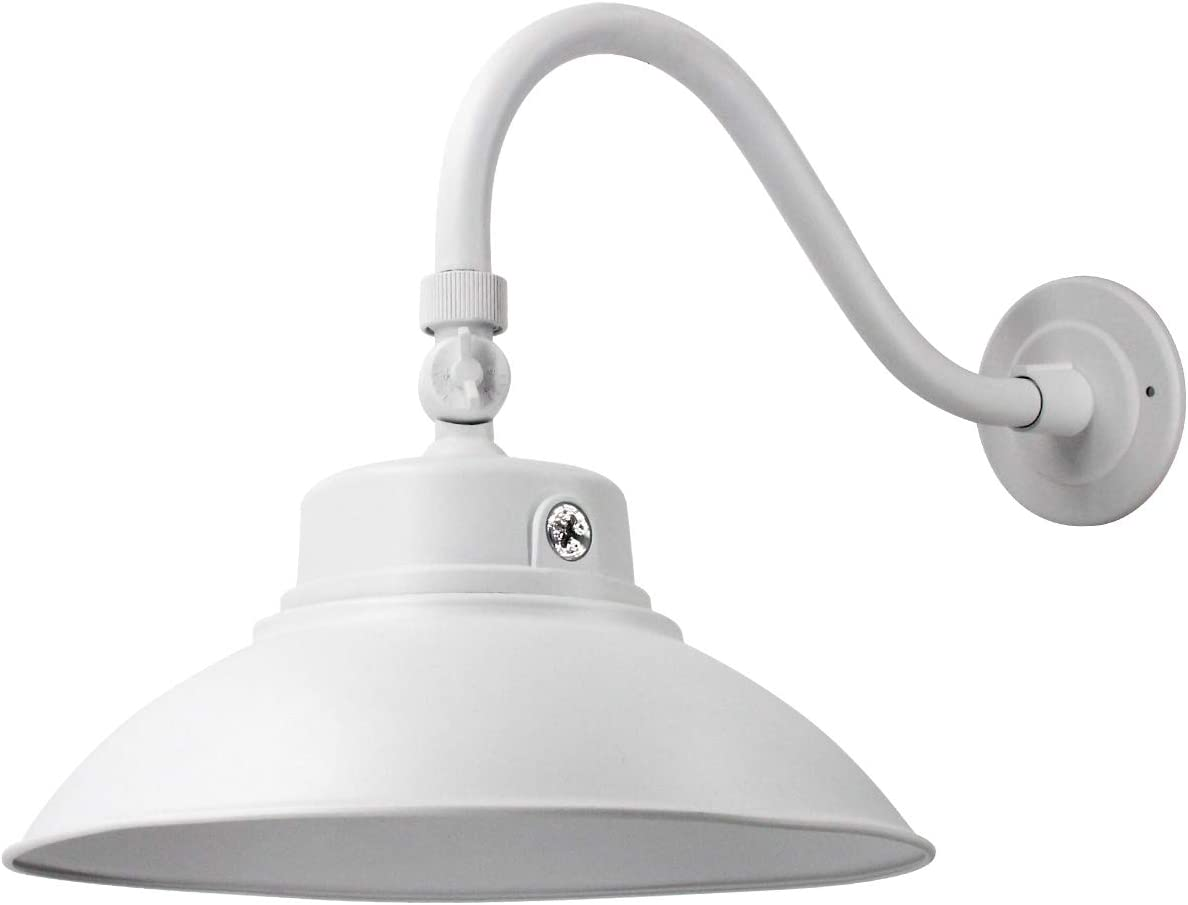 14in. White LED Gooseneck Barn Light 42W 4000lm Warmlight LED Fixture for Indoor/Outdoor Use - Photocell Included - Swivel Head ,Energy Star Rated - ETL Listed - Sign Lighting - 3000K Warmlight 1pk
