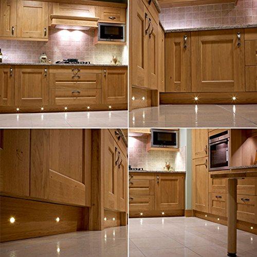 Set of 10, 15mm Warm White LED Decking / Deck / Plinth Lights (high