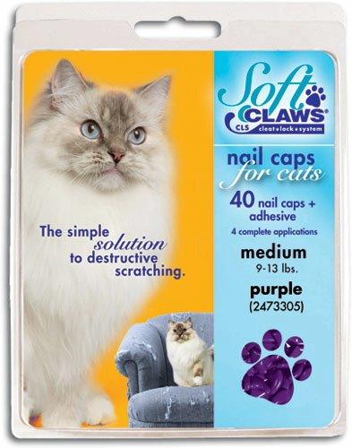 SOFT CLAWS Kit de Protège-Griffes pour Chats Adultes, Medium, Violet ZX249 120 279