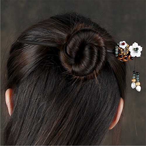 usongs MAK nation retro step shake hairpin hairpin literary wooden tassel jewelry dish made Chinese clothing costume headdress -