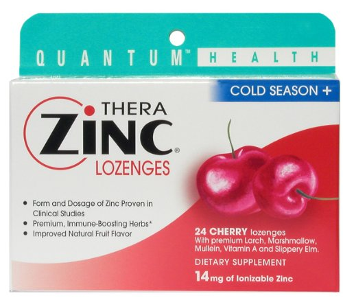Quantum Therazinc Cherry 24 Ct Acetate Lozenges, (Pack of 6)