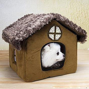 frixie (TM) casa de perro pequeño desmontable lavar suave forro polar invierno cálido mascotas Cachorro de la perrera perro Chihuahua nido cama: Amazon.es: ...