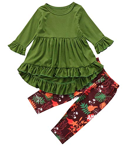 2PC Toddler Little Girls Ruffle Flare Tunic Dress Top Floral Leggings Pants Fall Winter Outfit Set Clothes (12-18 Months, Green)