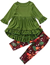 2PC Toddler Little Girls Ruffle Flare Tunic Dress Top...