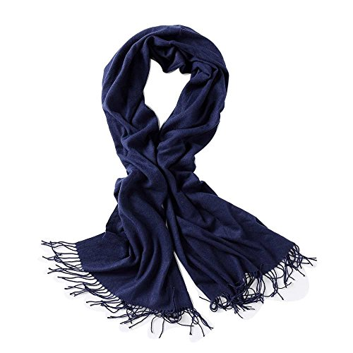 Bellonesc Cashmere Scarf Shawls for Women and Men (Navy Blue)