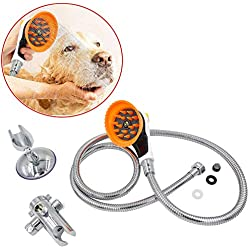 YaoLONG Pet Shower Sprayer Attachment Set,Innovative Shower Brush and Splash Shield,Sprayer & Scrubber in-One Dog Shower Kit for Dog Cat Horse Cleaning and Grooming and Massage