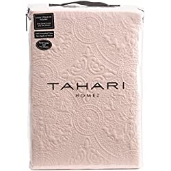 Tahari Bedding Bohemian Chic Yarn Woven Washed Cotton Quilted Duvet Cover 3pc Set Blush Pink Textured Medallion Pattern Stitching Damask Medallions (King)
