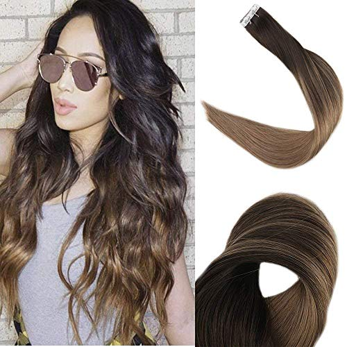 Fshine Tape Ins Double Sided Ombre Tape In Hair Extensions Short Hair 12 Inch Color #2 Darkest Brown Fading To Ash Brown Balayage Tape Hair Extensions Human Hair 20Pcs 30 Gram Silky Straight Remi Hair