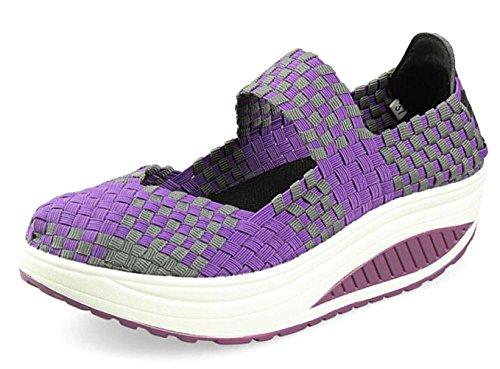 7 Platform Shoes Fitness Working Size Casual Jane Lightweight Sneakers 5 Slip 2 Purple Woven Sandals Walking Mary Women's On GFONE Wedge apgg1