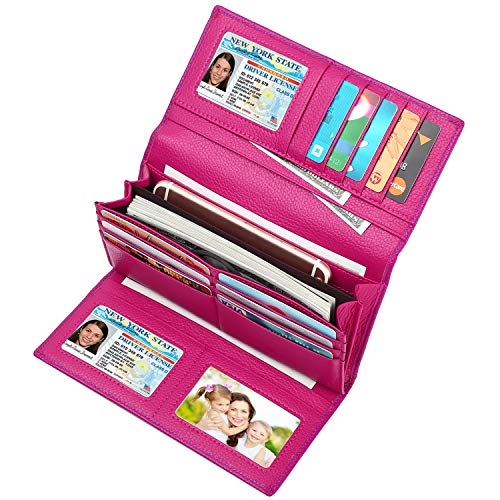 - Lavemi RFID Blocking Trifold Leather Checkbook Clutch Wallet for Women(Rose Red)
