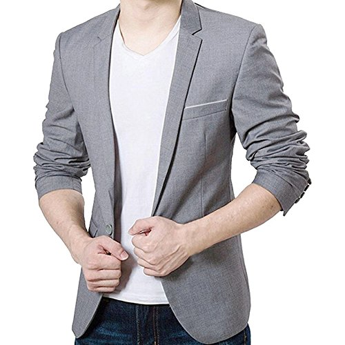 mens slim fit casual one button blazer jacket grey 4xl. Black Bedroom Furniture Sets. Home Design Ideas