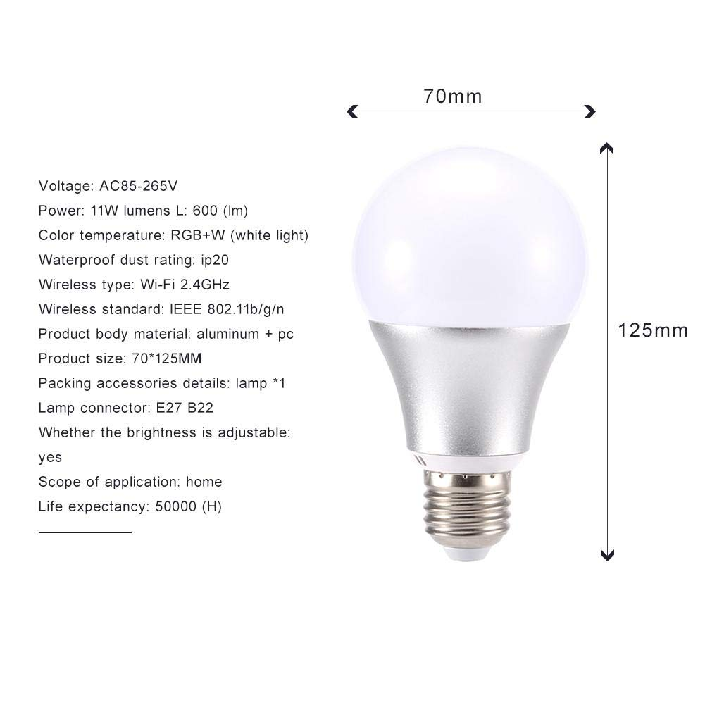 Bombilla LED Wifi inteligente, WiFi Smart mando a distancia LED bombilla Amazon Alexa Voice Control 11 W Smart Bulb RGBW, polvo impermeable: Amazon.es: ...