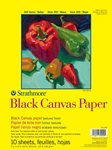 Strathmore 300 Series Black Canvas Pad, 16''x20'' Glue Bound, 10 Sheets by Strathmore