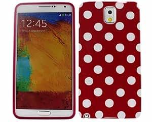 BONAMART ® Rojo Cubrir Blanco Polca Dots Carcasa Caso Funda Silicona Case TPU Cover Para Samsung Galaxy Note 3 III N9000