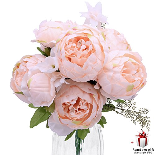 Judy Artificial Peony Silk Flowers Vintage Fake Flowers Bridal Bouquet for Home Wedding Party Decoration with 6 Flowers and 2 Buds (Spring Light Pink) (Bouquet Spring 2)
