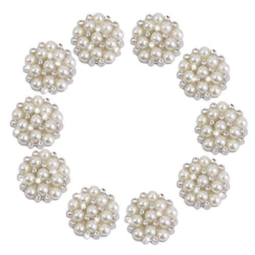 10pcs 15 mm YiGo White 15mm Round Rhinestone Faux Pearl