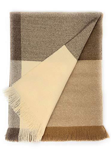 Alpaca Home | Color Block Throw Blanket | 60% Premium Baby Alpaca, 30% Merino Wool, 10% Cashmere | 5.9 Feet Long X 4.25 Feet Wide | Luxuriously Soft & Cozy (Natural Dusk) ()