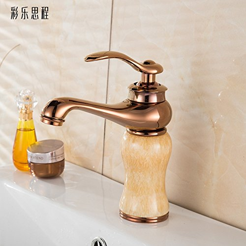European hot and cold faucet lavatory basin-wide copper-gold green jade marble wash basin faucet hot sale