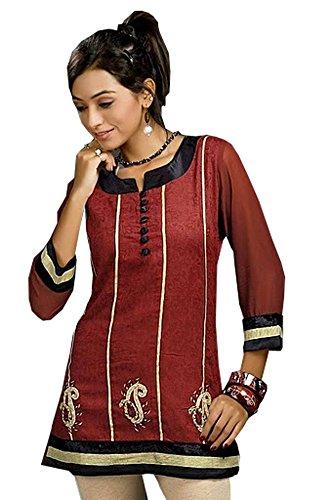 Jayayamala Courte longueur Superbe Bordeaux Style Coton Broderie Tunique robe chemise