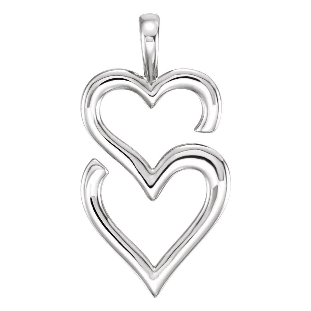Sterling Silver Double Heart Pendant