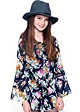 Truly Me, Big Girls Tween Gorgeous Long Sleeve Chiffon Romper with Lace Trim, 7-16 (12, Blue)